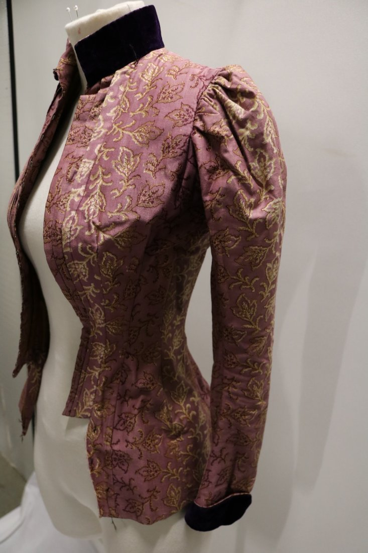 Purple & Gold Victorian Bodice in Cotton & Velvet - 5