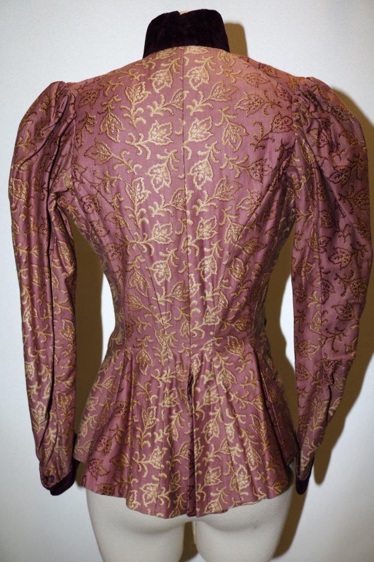 Purple & Gold Victorian Bodice in Cotton & Velvet - 6