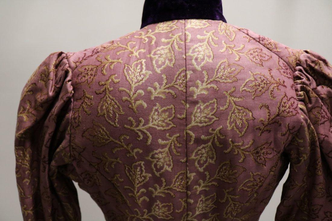 Purple & Gold Victorian Bodice in Cotton & Velvet - 7
