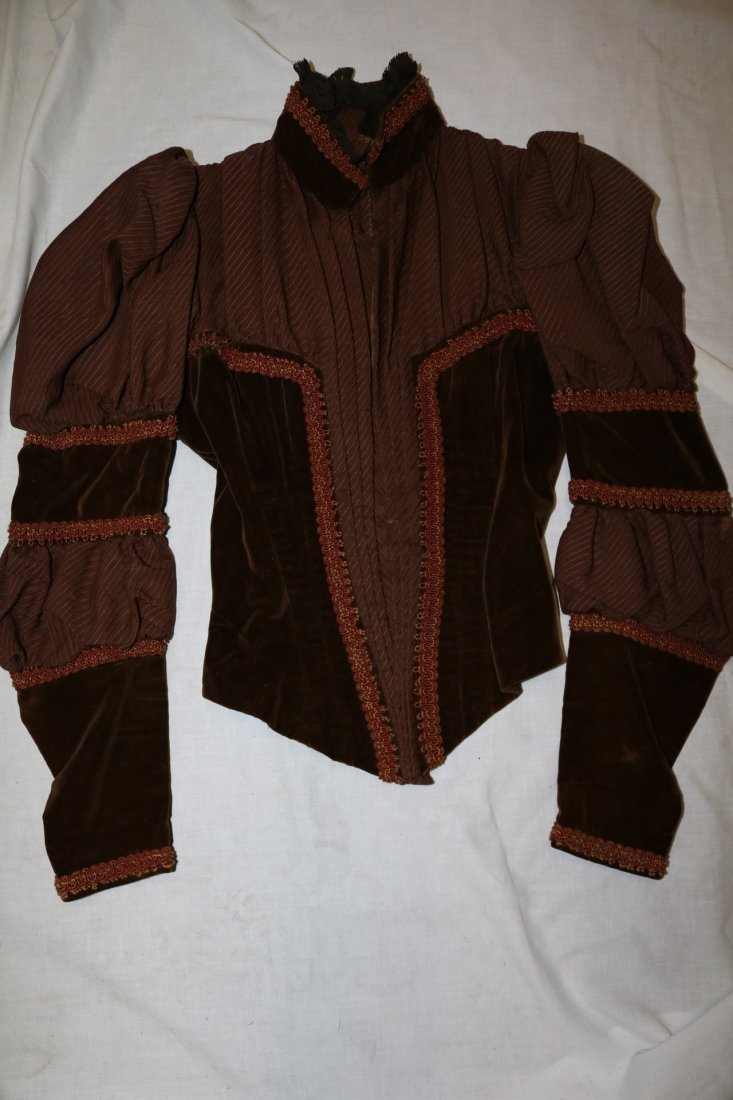 Brown Victorian Bodice with Velvet Trim and Cording