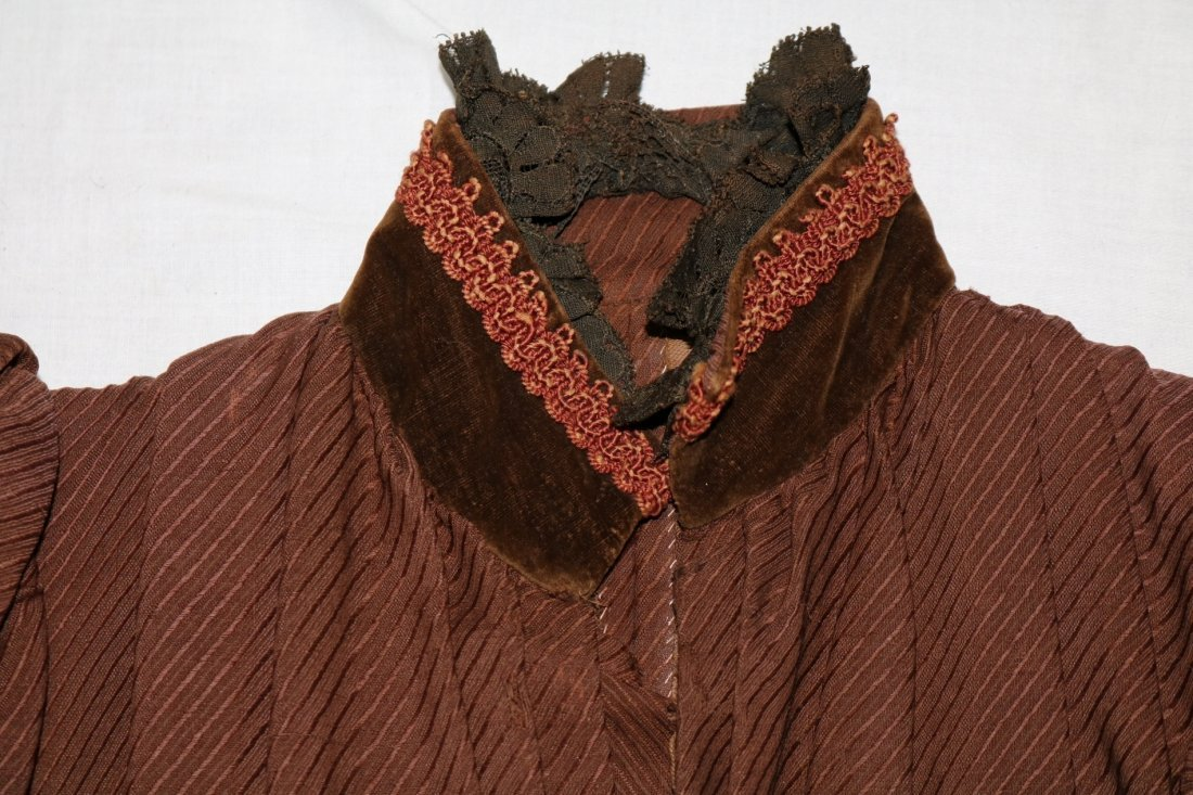 Brown Victorian Bodice with Velvet Trim and Cording - 2