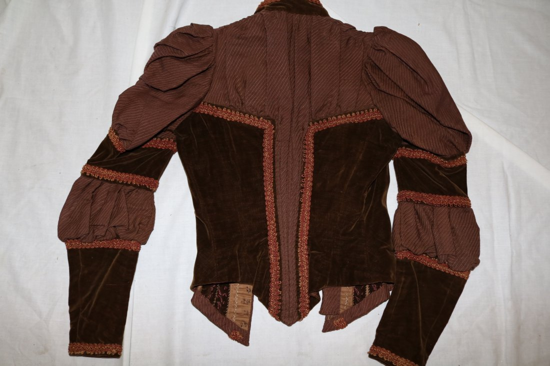 Brown Victorian Bodice with Velvet Trim and Cording - 4
