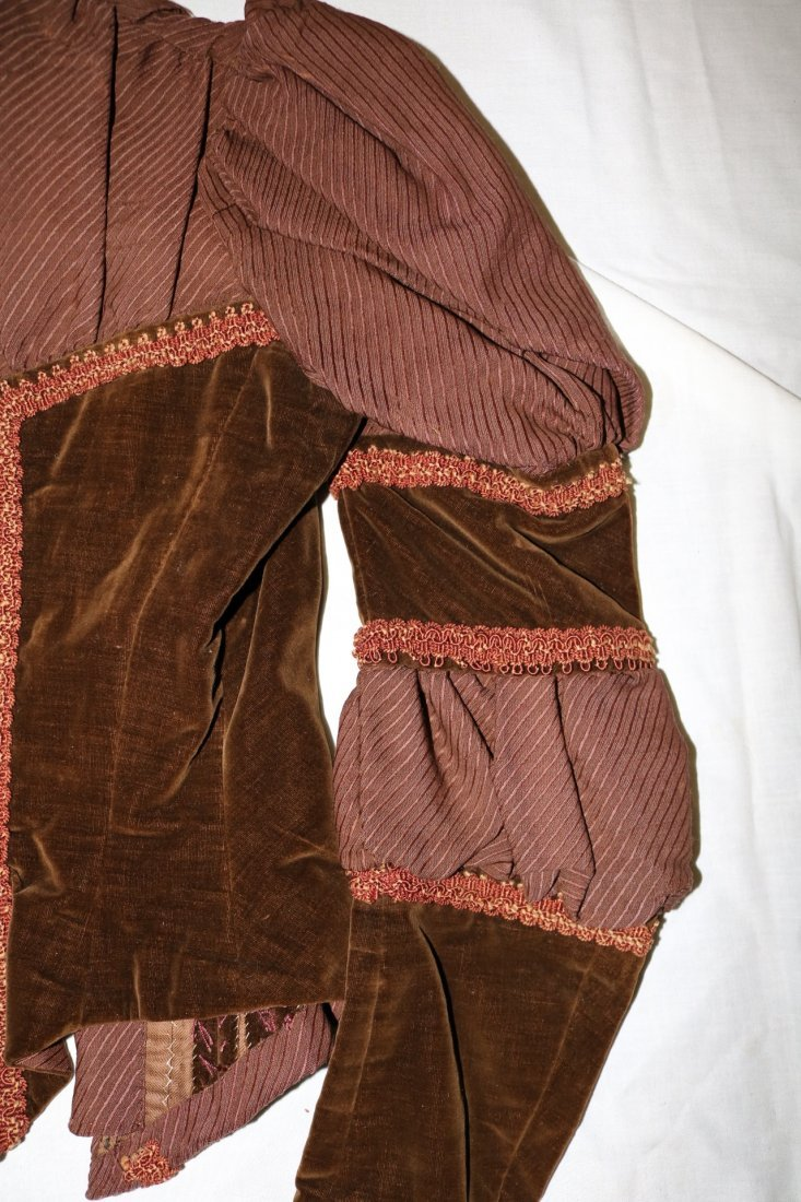 Brown Victorian Bodice with Velvet Trim and Cording - 5