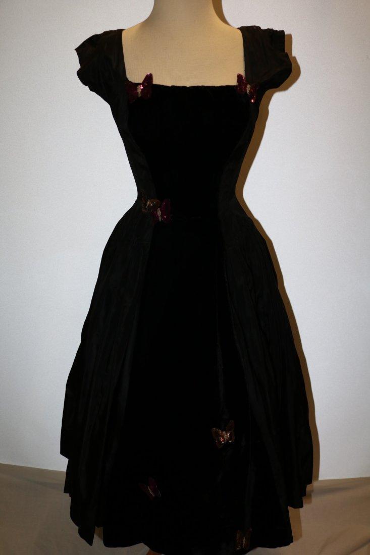 1950's Black Taffata & Velvet Party Princess Dress with