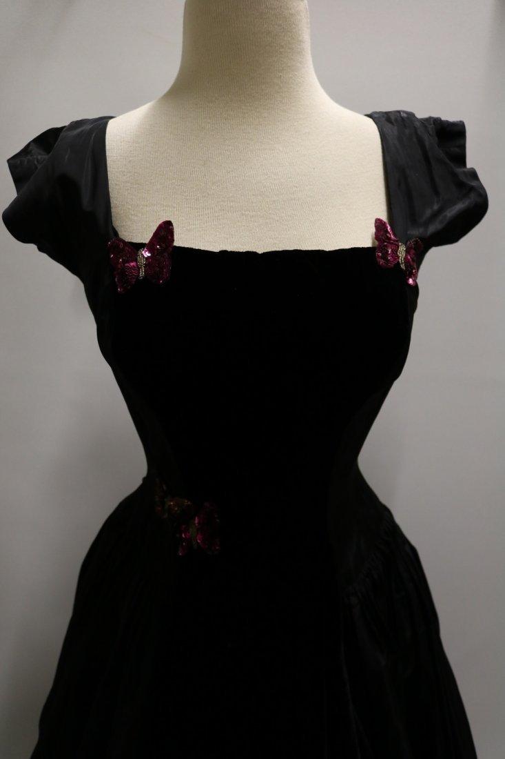 1950's Black Taffata & Velvet Party Princess Dress with - 2