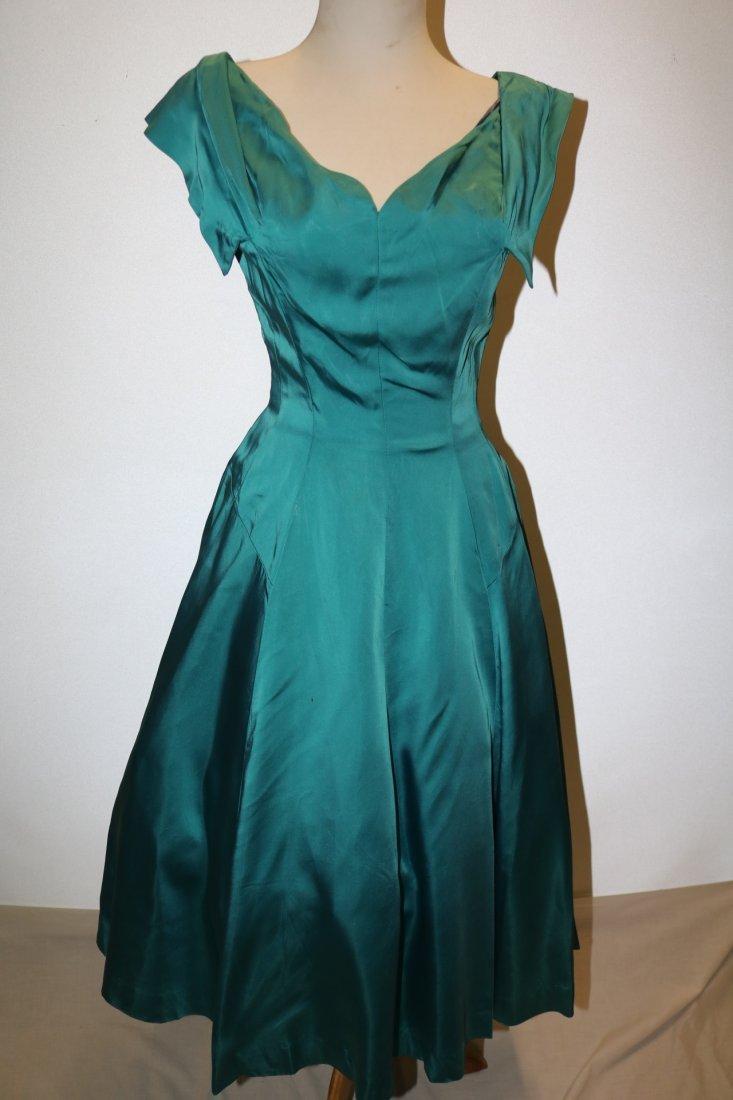 1950's Touquorse Blue Satin Sweat Heart Bodice Princess