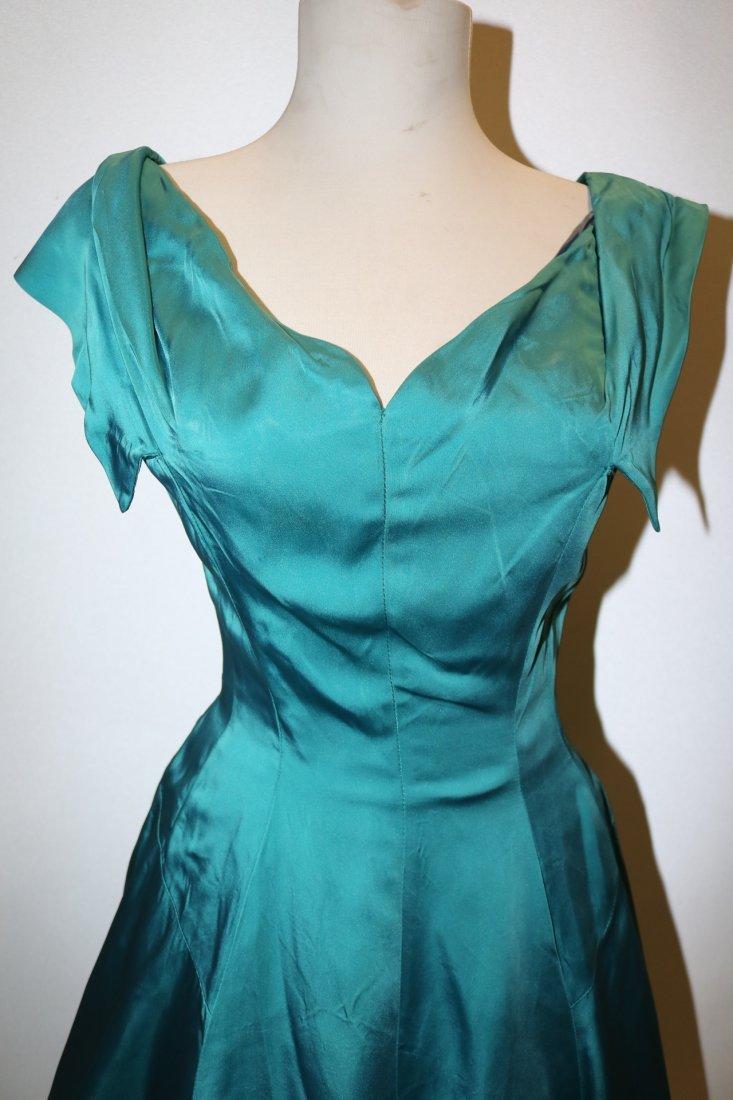 1950's Touquorse Blue Satin Sweat Heart Bodice Princess - 2