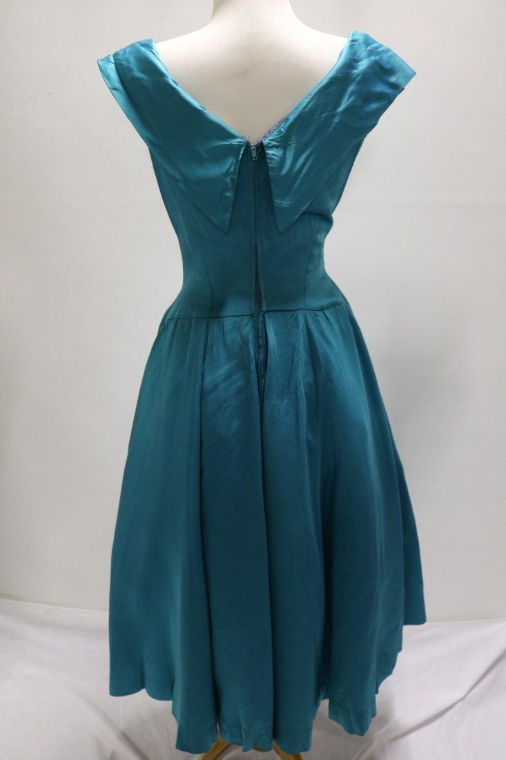 1950's Touquorse Blue Satin Sweat Heart Bodice Princess - 4
