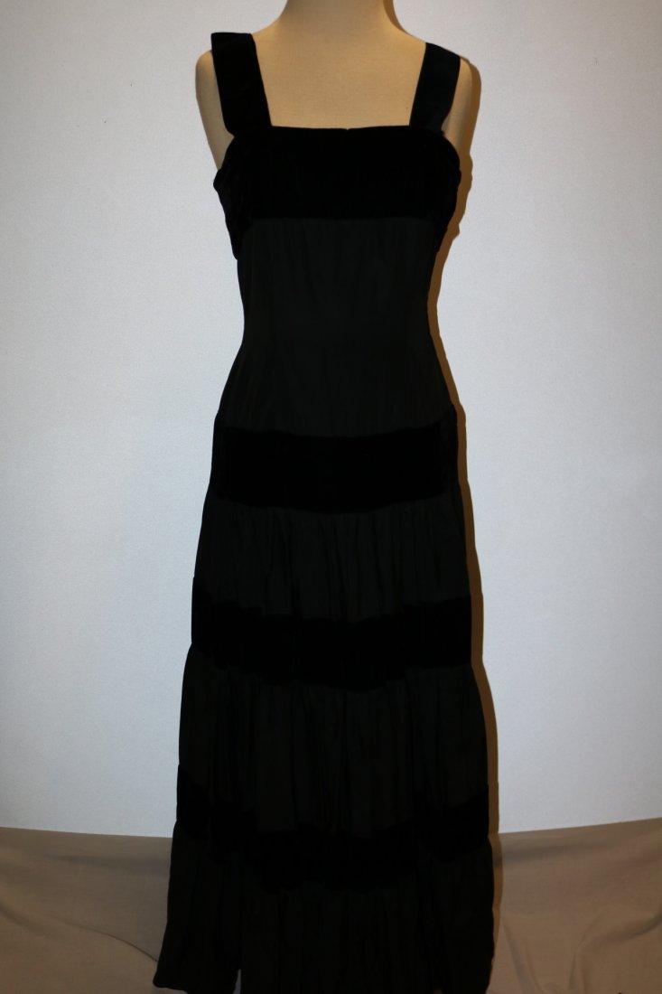 1940/50's Black Velvet & Taffata Gown