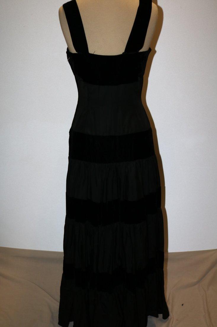 1940/50's Black Velvet & Taffata Gown - 5