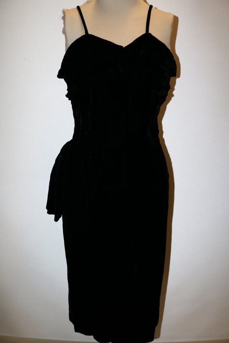 1940's Velvet Spahgetti Strap Dress with Ruched Bodice