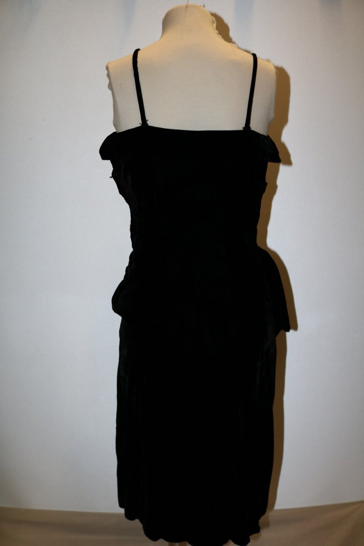 1940's Velvet Spahgetti Strap Dress with Ruched Bodice - 5