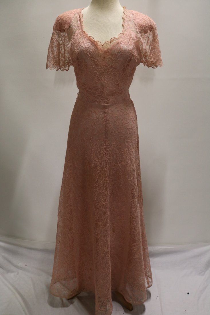 1930's Pink Lace Sweat Heart Fitted Bodice Gown