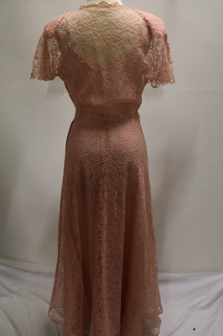 1930's Pink Lace Sweat Heart Fitted Bodice Gown - 5