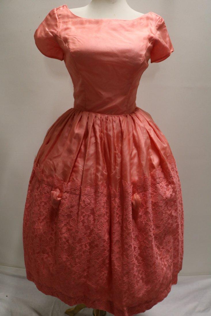 1950's Silk Taffeta Chiffon & Lace with Roses, Pouf