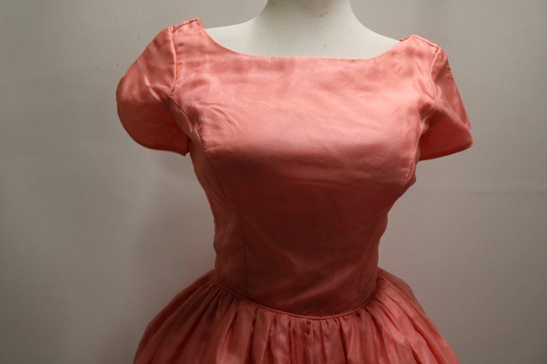 1950's Silk Taffeta Chiffon & Lace with Roses, Pouf - 2