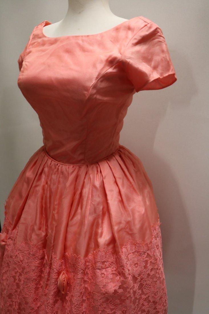 1950's Silk Taffeta Chiffon & Lace with Roses, Pouf - 4