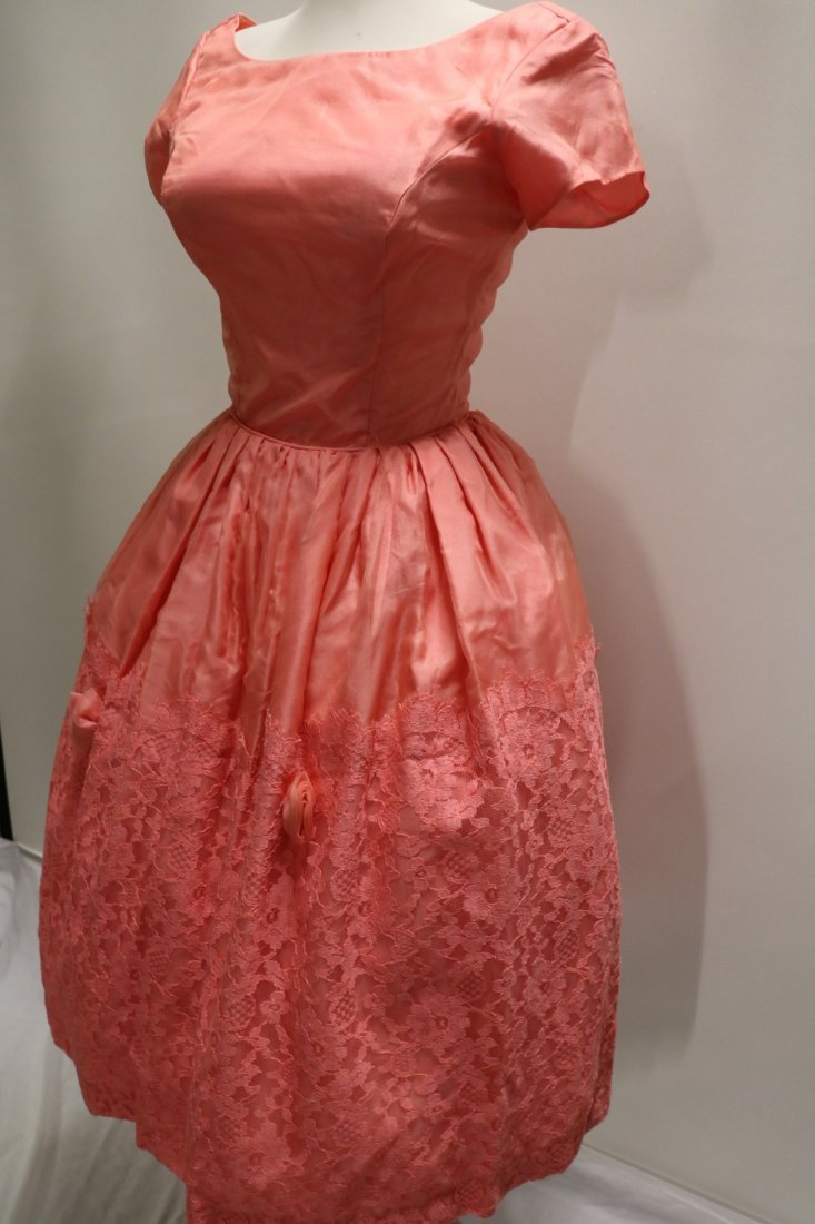 1950's Silk Taffeta Chiffon & Lace with Roses, Pouf - 5