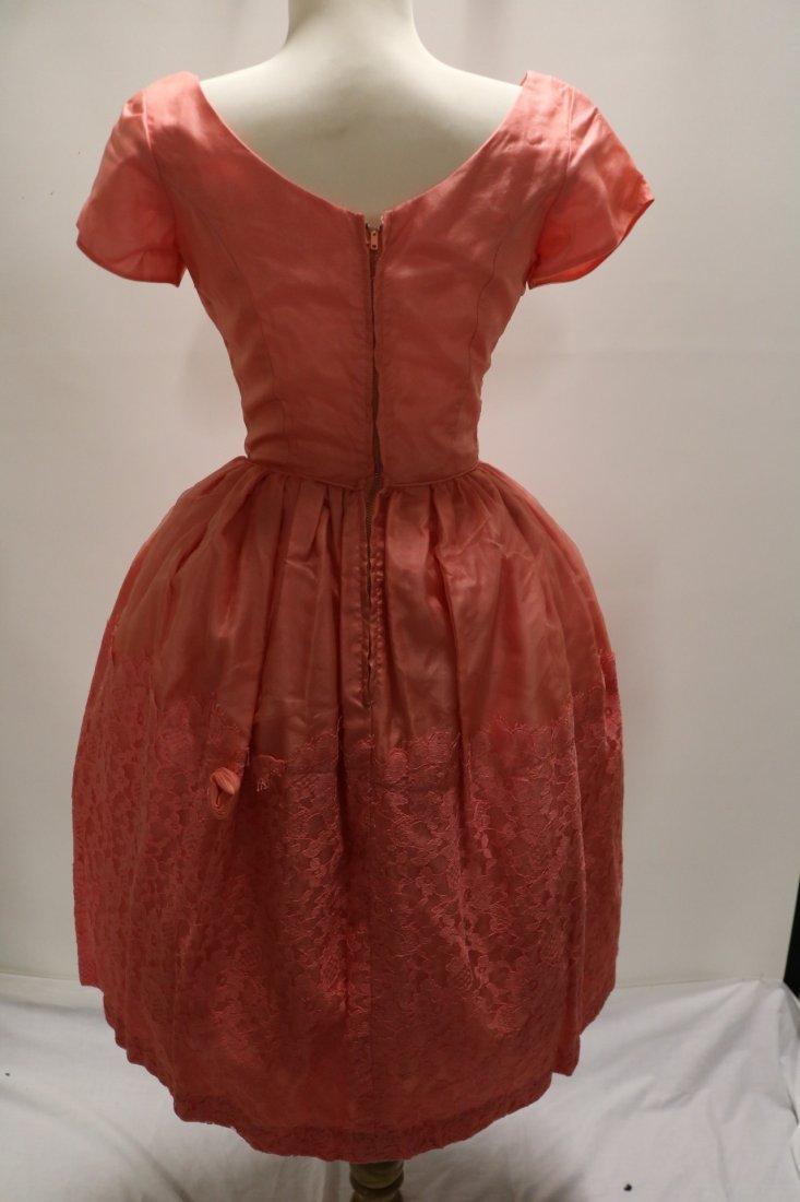 1950's Silk Taffeta Chiffon & Lace with Roses, Pouf - 6
