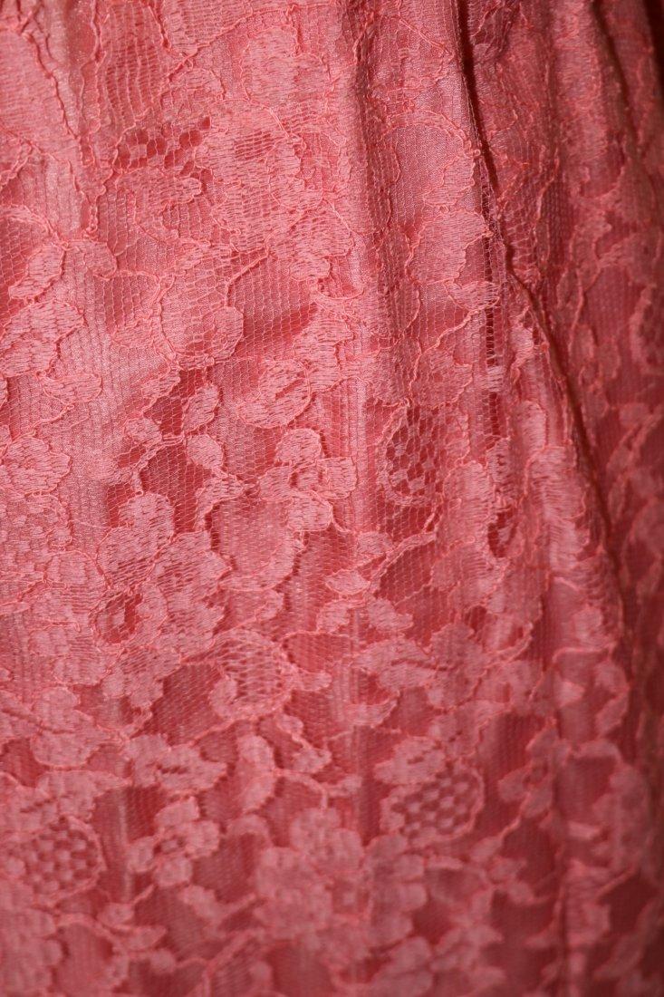 1950's Silk Taffeta Chiffon & Lace with Roses, Pouf - 7