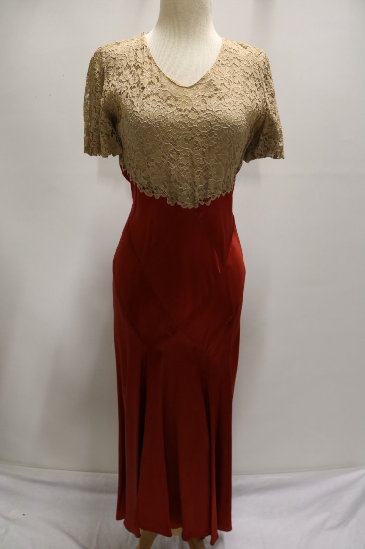 1930's Lace & Satin Mermaid Dress