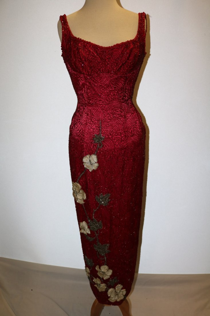 1960's Full Length, Fully Beaded Wiggle Gown in Red