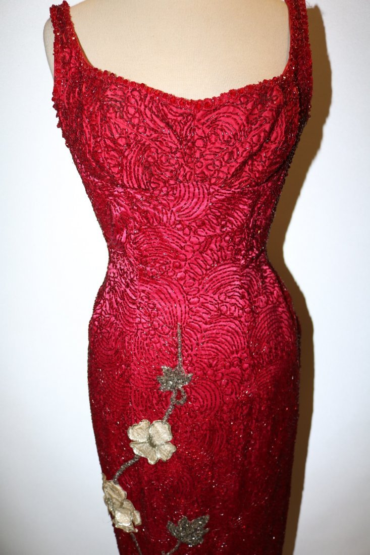 1960's Full Length, Fully Beaded Wiggle Gown in Red - 2