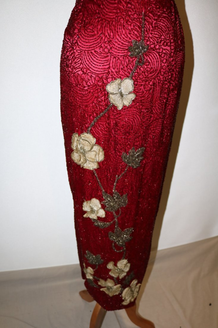 1960's Full Length, Fully Beaded Wiggle Gown in Red - 3