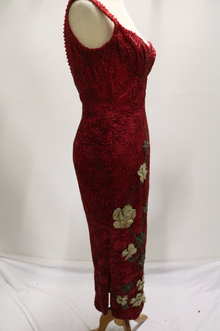 1960's Full Length, Fully Beaded Wiggle Gown in Red - 6