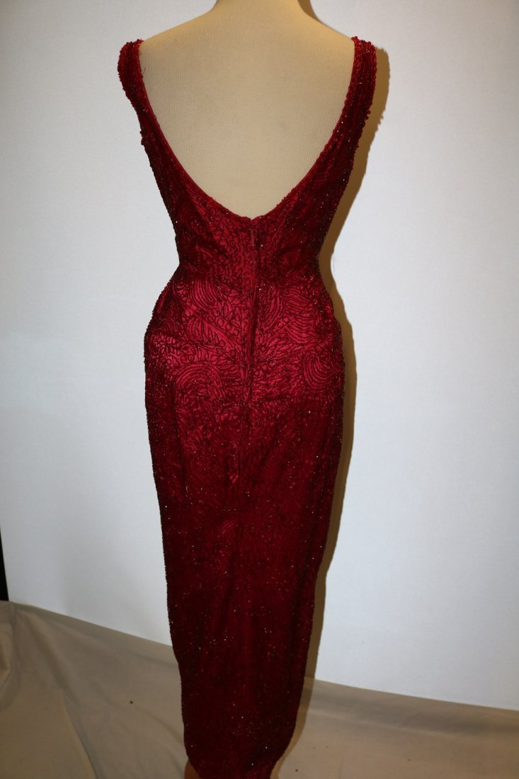 1960's Full Length, Fully Beaded Wiggle Gown in Red - 7