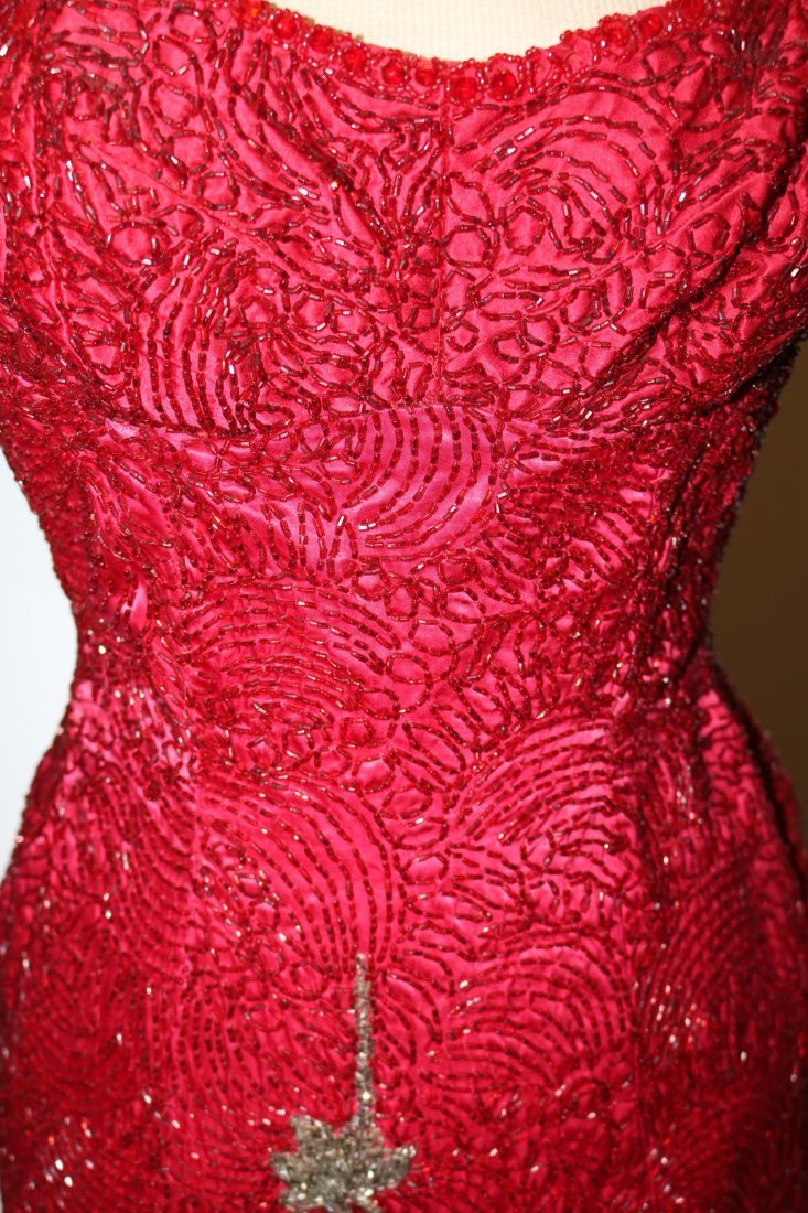 1960's Full Length, Fully Beaded Wiggle Gown in Red - 8