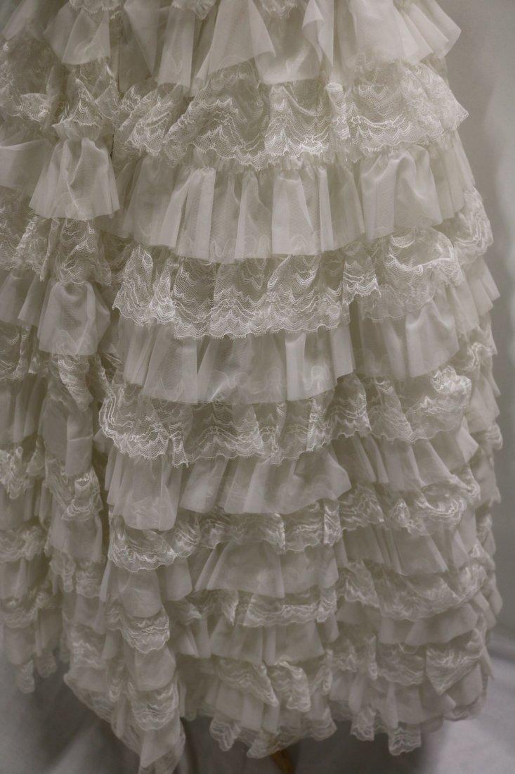 1950's White Strapless Sweat Heart Bodice Ruffled Lace - 5