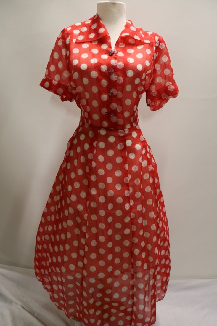 Late 1940's Sheer Red Polka-Dot Fit to Flare Shirt