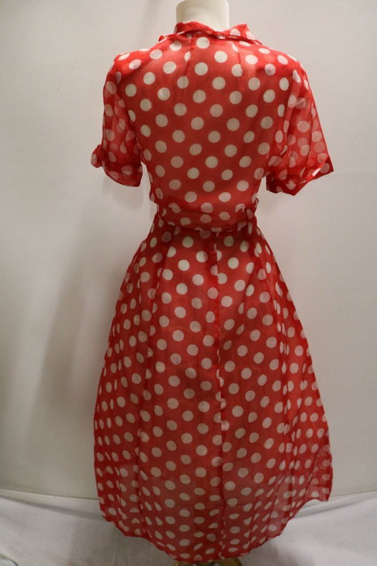 Late 1940's Sheer Red Polka-Dot Fit to Flare Shirt - 5