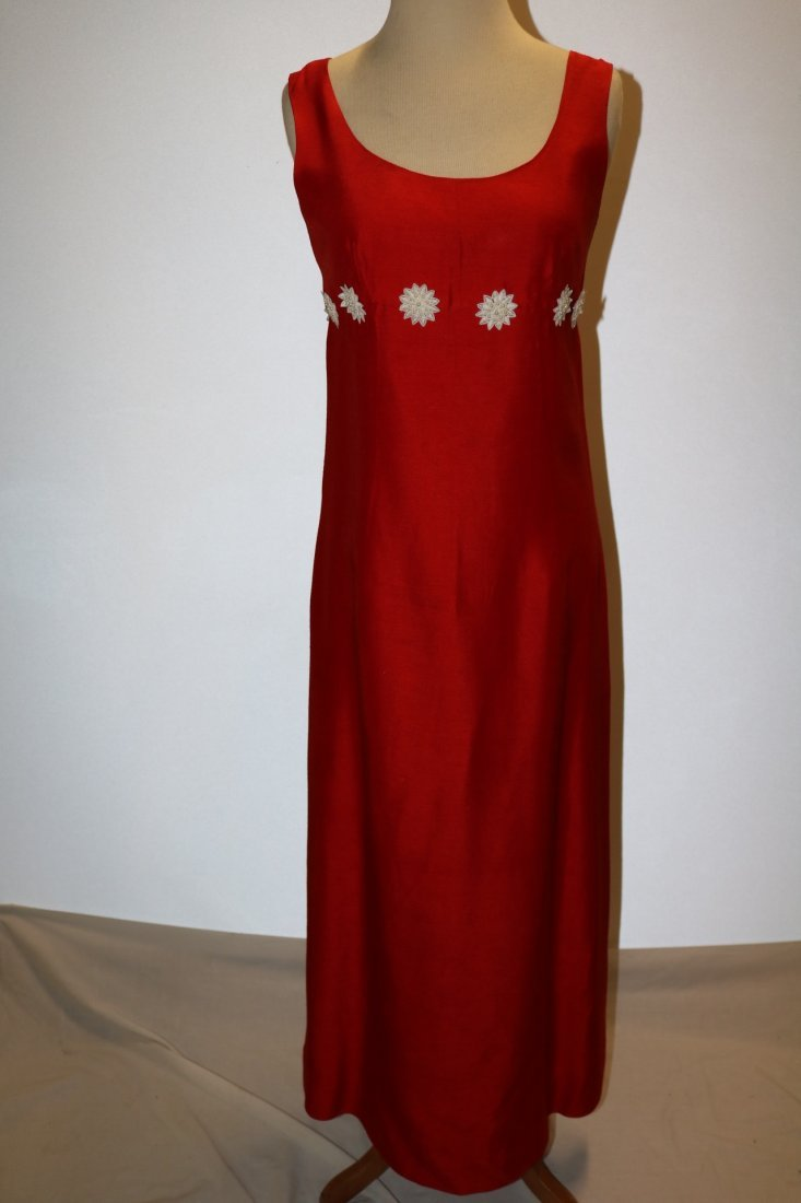 Vintage 1960s cherry red slubbed rayon floor length