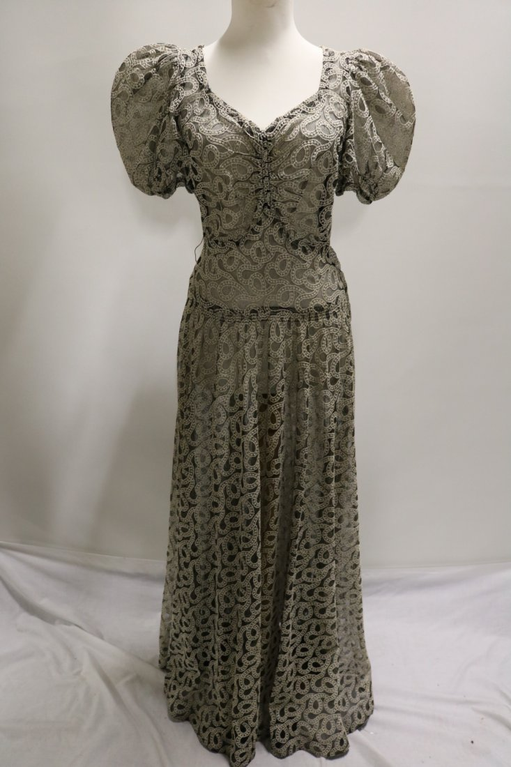Vintage 1930s black tambour lace evening dress with an