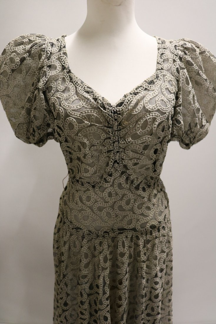 Vintage 1930s black tambour lace evening dress with an - 2