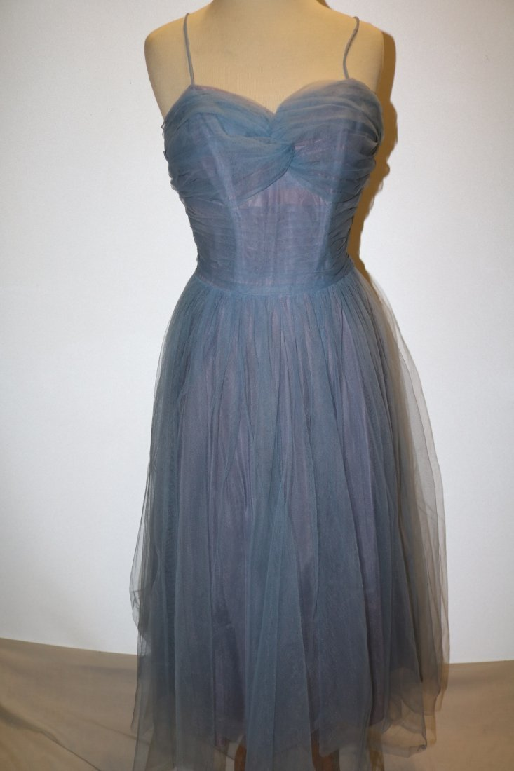 Vintage 1950s periwinkle blue fine tulle party dress