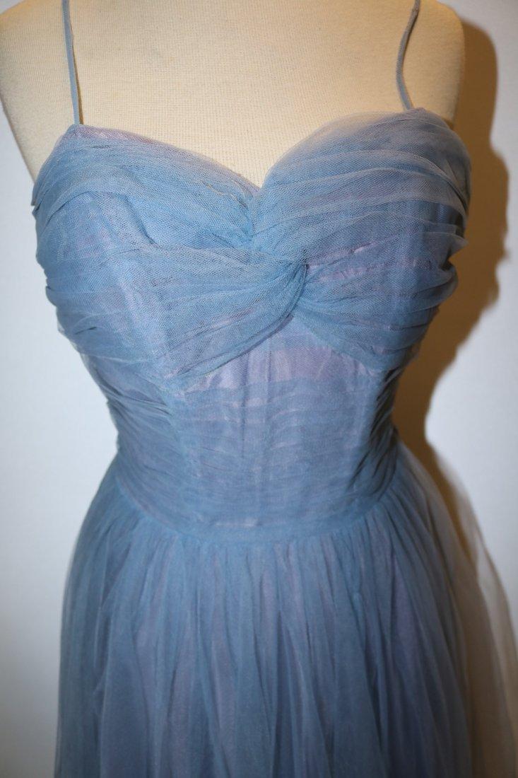 Vintage 1950s periwinkle blue fine tulle party dress - 2