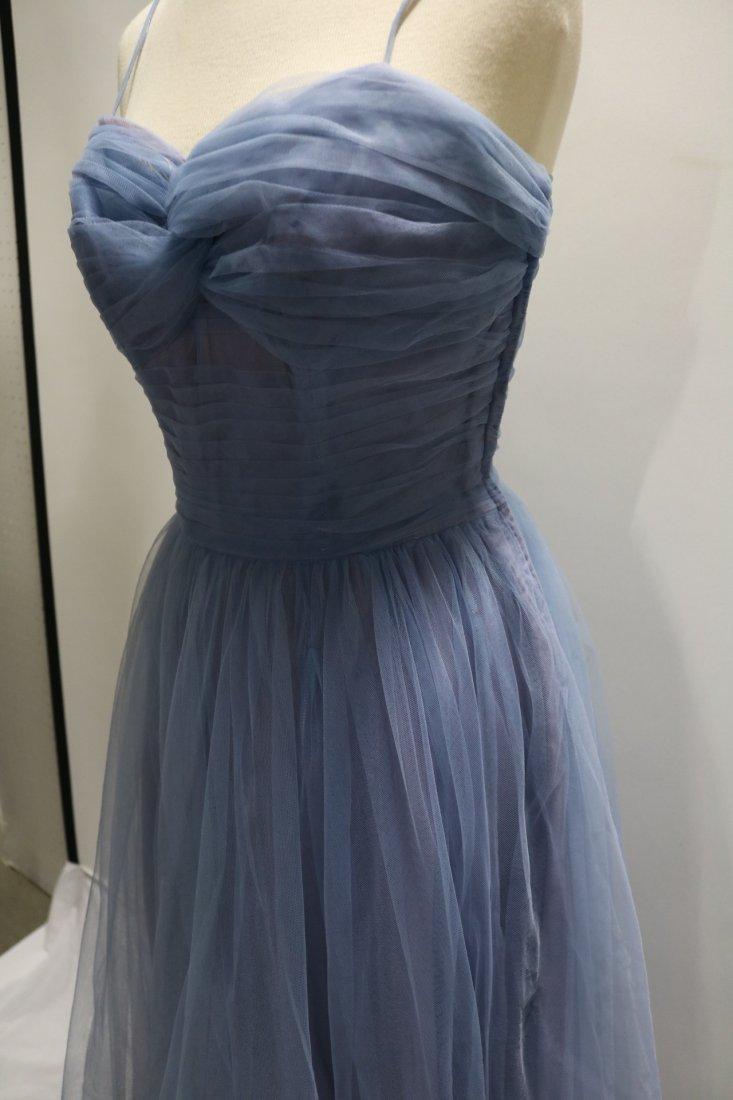 Vintage 1950s periwinkle blue fine tulle party dress - 3