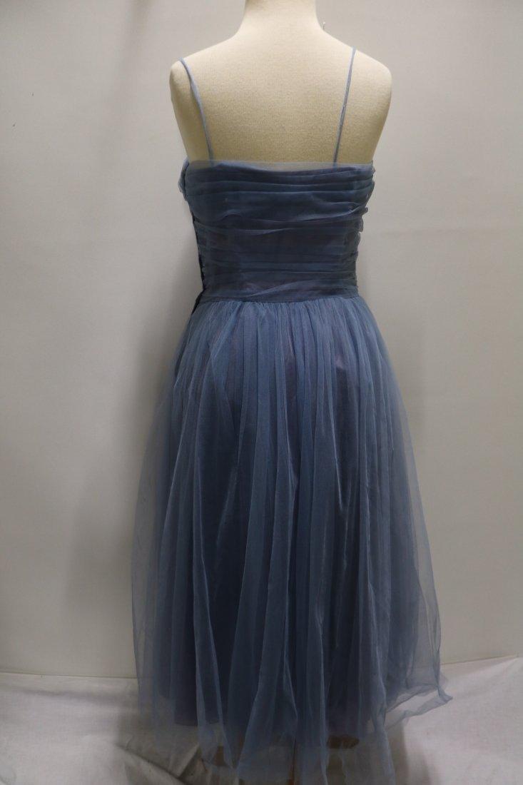 Vintage 1950s periwinkle blue fine tulle party dress - 4