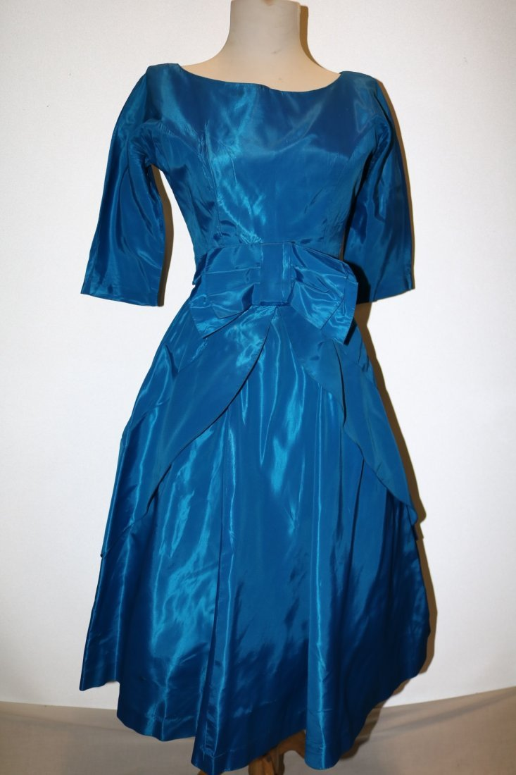 1950's Teal Blue Taffeta Fit & Flare Pouf Dress with