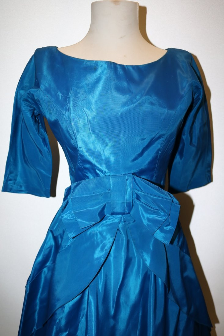 1950's Teal Blue Taffeta Fit & Flare Pouf Dress with - 2