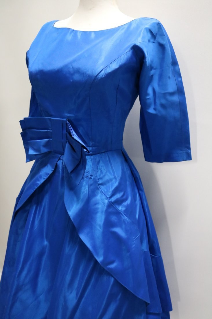 1950's Teal Blue Taffeta Fit & Flare Pouf Dress with - 3