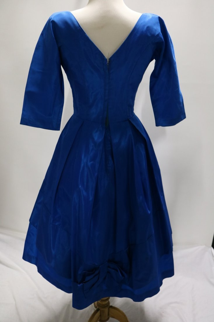 1950's Teal Blue Taffeta Fit & Flare Pouf Dress with - 4