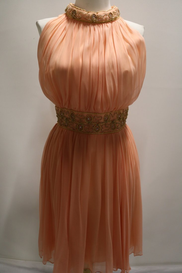 Vintage 1960s Peach Silk Chiffon Party Dress with a