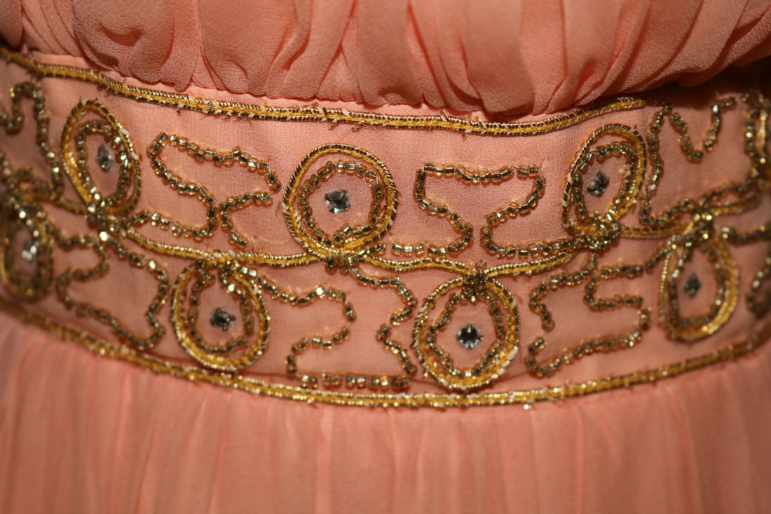 Vintage 1960s Peach Silk Chiffon Party Dress with a - 4