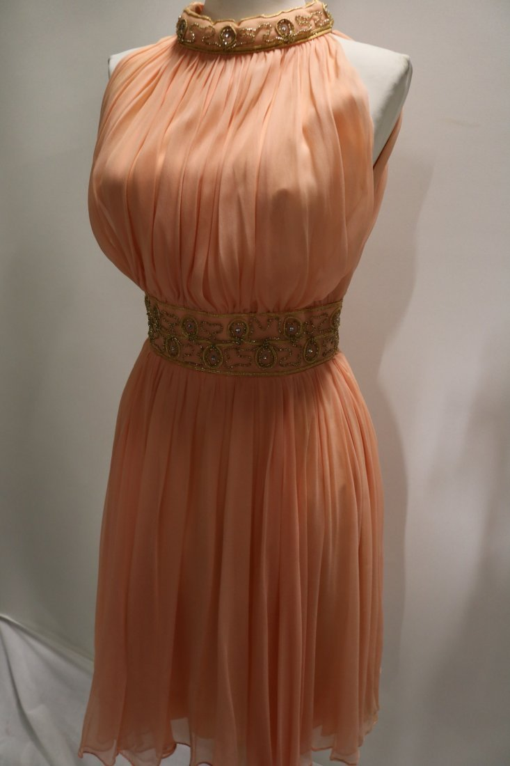 Vintage 1960s Peach Silk Chiffon Party Dress with a - 5