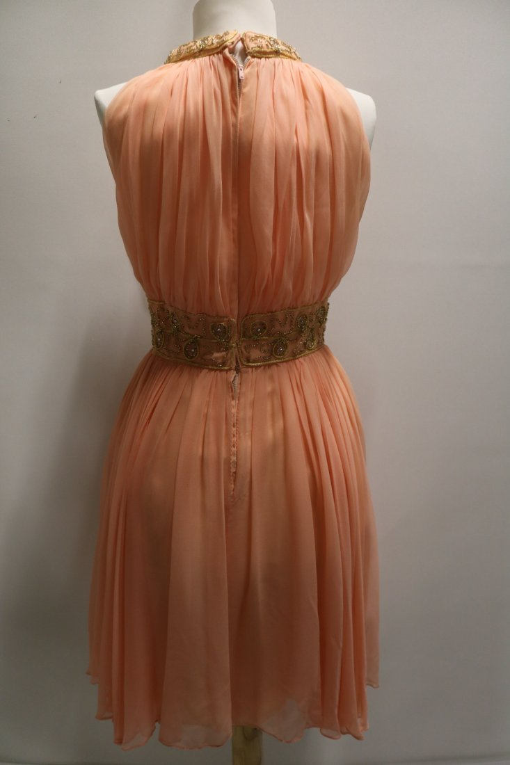 Vintage 1960s Peach Silk Chiffon Party Dress with a - 6