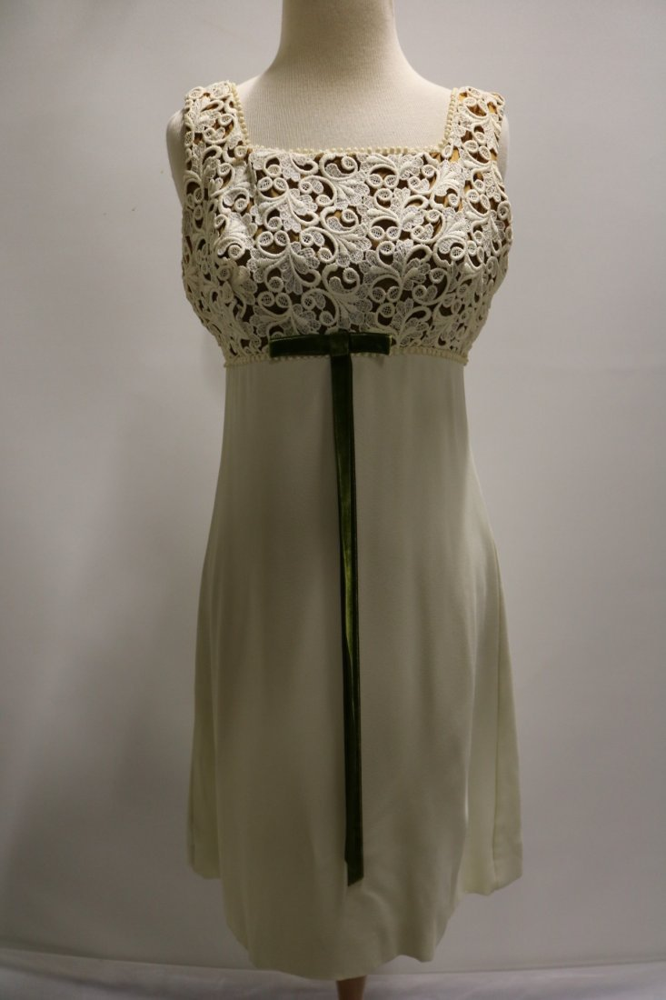 Vintage 196s ivory crepe cocktail dress with a cutout